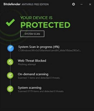 антивирусы для Windows 10 - Bitdefender Antivirus Free Edition